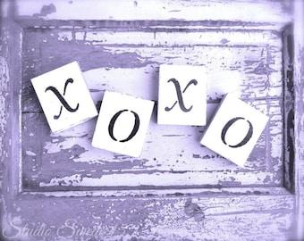 "Word Art, XOXO, Shabby Cottage Chic, Purple Love Print, Romantic Rustic Lavender Art, Hugs and Kisses, Girls Room Decor, Cottage- ""XOXO"""