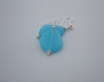 Baby Blue Sea Glass Earrings Seaglass Earrings Sea Glass Jewelry Beach Glass Earrings Beach Glass Jewelry Beach Jewelry Seaglass Jewelry 070