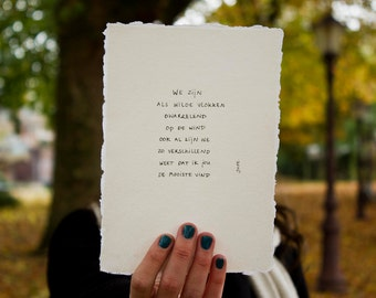 Wild Flakes | Poem on cotton paper