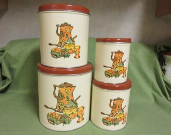 Set OF Four Vintage Metal Kitchen Canisters 1960.s