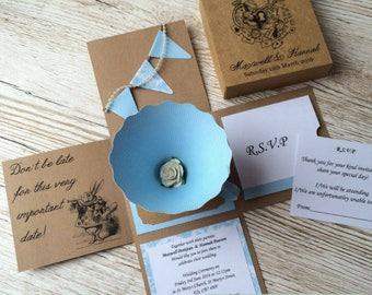 3D Alice in Wonderland Wedding Invitation sample