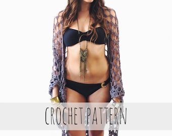 PATTERN for Crochet Wrap Beach Cover Up Witchy Boho Shawl // Eastwick Wrap PATTERN