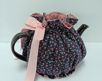 Royal Blue and Pink Snuggie Tea Cozy with Bottom / Ruffle design tea cozy / teapot cozy / tea cozy / teapot cosy / tea cosy