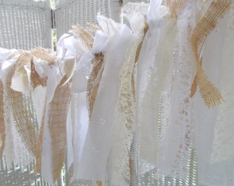 Burlap and lace garland