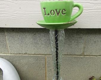 "New Green ""Love"" Coffee Cup Planter Garden Art"