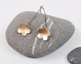 Golden Cherry Blossom Dangle Earring--Brushed Gold Filled Material on Oxidized Silver Kidney Earwires