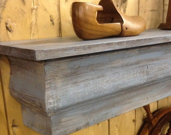 Floating Mantle Shelf made from Reclaimed Wood, Shabby Chic Floating Shelf, Fireplace Mantle, Distressed Beachy Blue Shelf