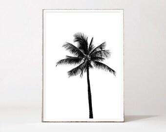 Palm tree minimalist, palm print, black and white palm tree, palm prints, tropical poster, tropical prints, affiche palmier, noir et blanc