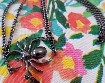 Jewel-Dropped Spider - a Morrigan-Inspired Necklace
