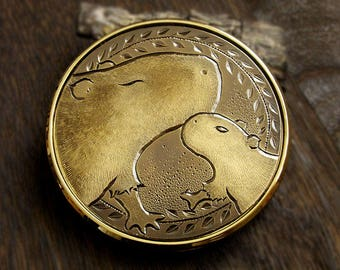 Parent and Child of Capybara, a Compact Mirror, Pocket mirror, Brass Engraving