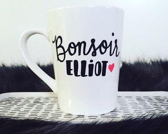 Mr. Robot Inspired Bonsoir Elliot Mug, Mr. Robot Mug, Mr. Robot Cup, Bonsoir Elliot Mug, Hand painted mug, Gifts under 15