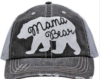 Mama Bear Grey Distressed Hat