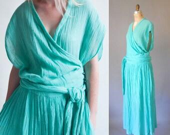 Aphrodite grecian gauze wrap dress   70s maxi dress   vintage 70s dress