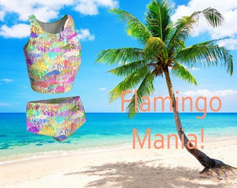 Flamingo Mania Beach Yoga Set, Crop Top and Bikini Bottoms Pair. Yoga wear, Beach wear.