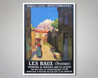 Les Baux Provence, France Vintage Travel Poster - Poster Print, Sticker or Canvas Print / Gift Idea