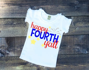 FREE SHIPPING***Fourth of July, Happy Y'all, Fireworks, Red, White, Blue