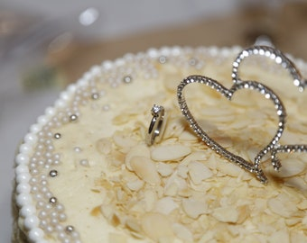 Double heart rhinestone cake topper for weddings & special occasions
