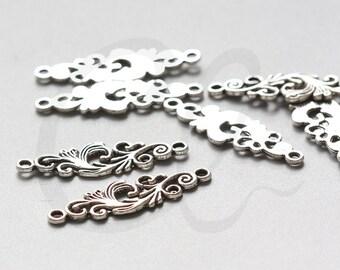 10pcs Oxidized Silver Tone Base Metal Filigree Links - 35x11mm (17768Y-C-348)