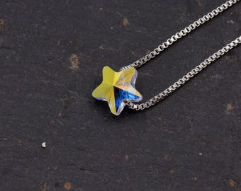 Sterling Silver Tiny Little Colour Changing Crystal Star Pendant Necklace  - 16'' - 18'' H85