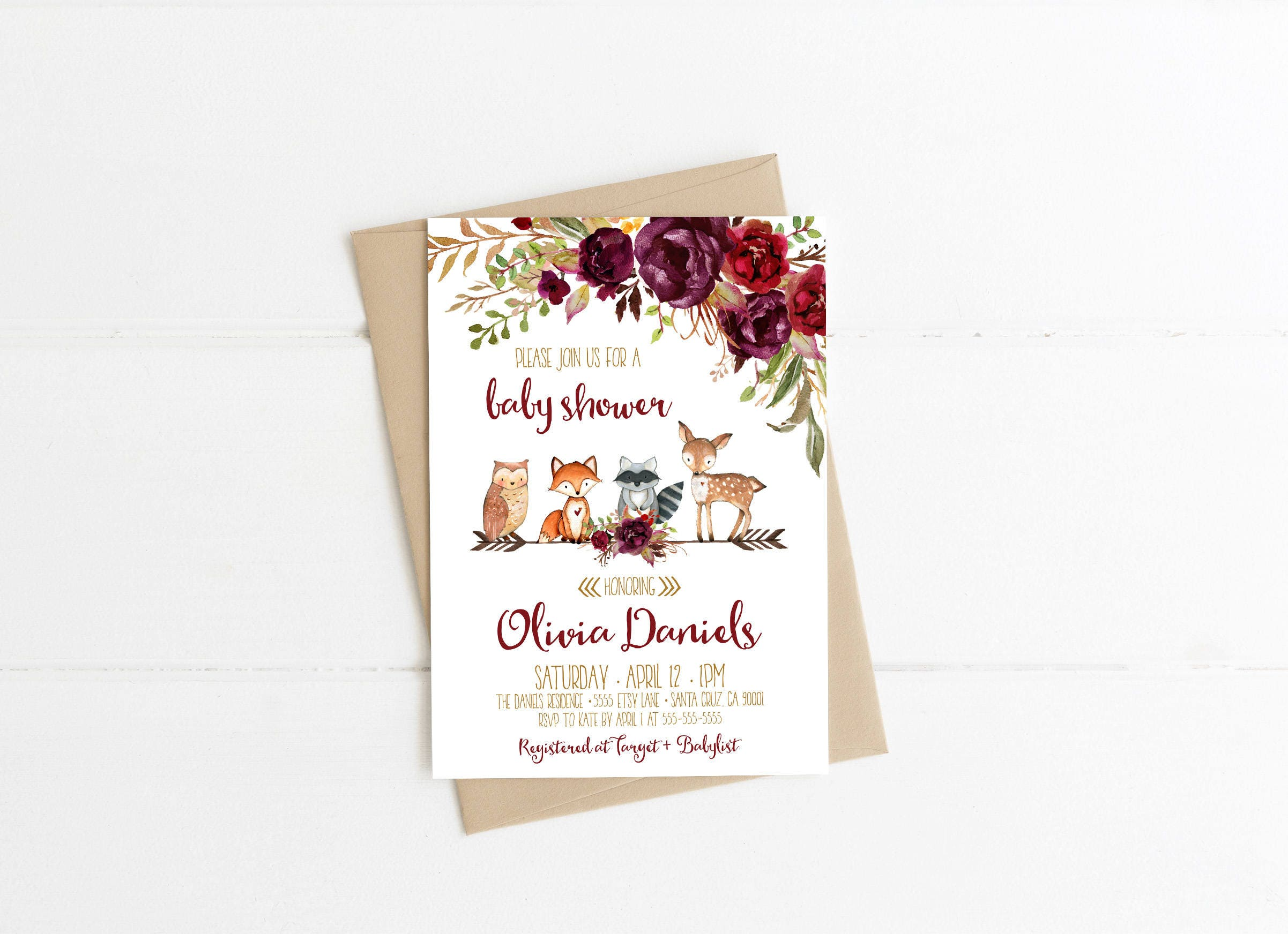 Woodland baby shower invitations Autumn Fall invitation