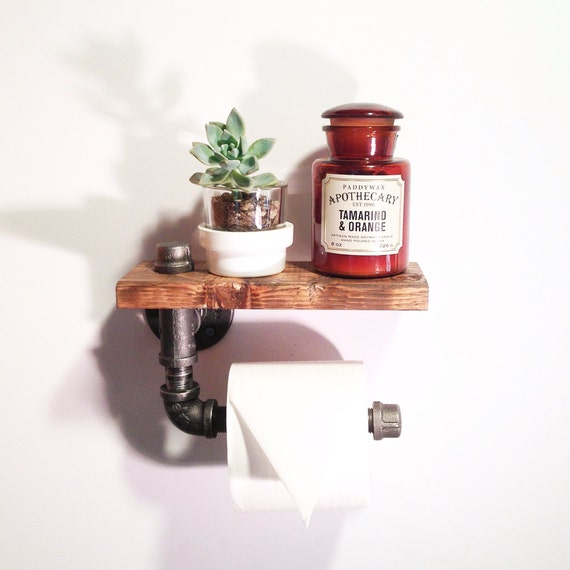 Industrial pipe shelf -  Steampunk bathroom fixture - Rustic Furniture - Industrial Bathroom - Toilet paper holder - Pipe shelf