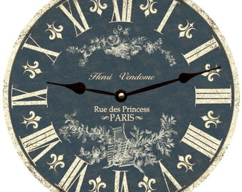 Toile Clock- Light Blue Toile French Clock- Light Blue Toile Wall Clock