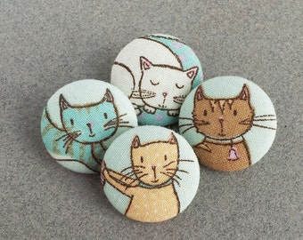 cat print fabric buttons - fabric covered buttons - cat buttons - sewing buttons - shank button   - kitty cat kitten