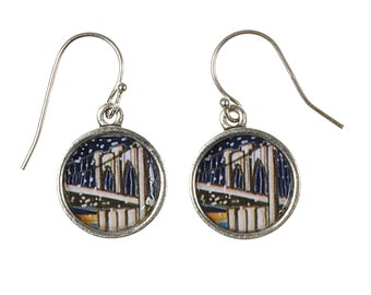 Brooklyn Bridge Earrings. Lovingly Handmade in Brooklyn by Wishing Well Studio.