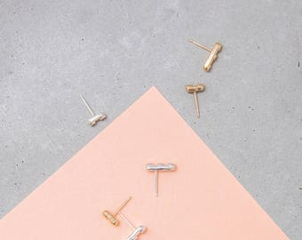 Silver Dote Studs / minimal bar earrings / sculptural studs / single post earring / mix & match / sterling silver