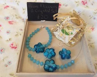 Blue Flowers Crystal Set