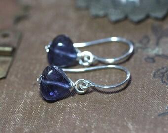 Iolite Earrings Blue Gemstone Triangle Teardrop Bead Earrings Sterling Silver Gold Copper