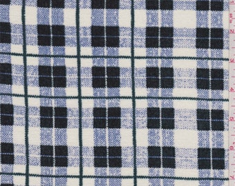 Ivory/Green/Blue Plaid Print Rayon Jersey Knit, Fabric By The Yard