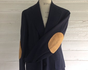 Vintage Suit Jacket w Elbow Patches - Navy Professor's Jacket w Caramel Suede Elbow Patches
