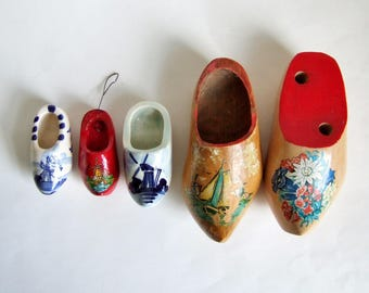 Instant Collection of Vintage Clogs - Painted Wood and Pottery Dutch Clogs in Different Sizes - Souvenirs of Holland