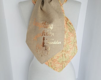 Gift for Her Custom Linen Mothers Day Gift Scarf Gift for Mom Shabby Chic Chandelier Peach & Ivory Scarves Neck Warmer Rose Gold