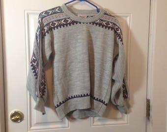 Pandora Nordic Fair Isle Light Gray Grey Autumn Winter Sweater Christmas Christmastime Sz S Small S/M Medium 1990s 90s