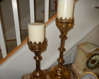 ORNATE BRASS CANDLE Holders