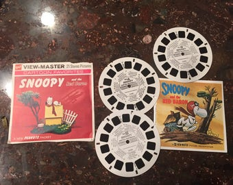 View-Master B544, Snoopy And The Red Baron, Children's 3 Reel Set with booklet