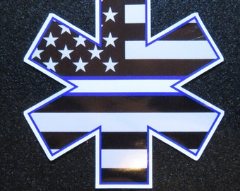 "EMS Star of Life with American Flag & Thin White Line 4"" Decal"