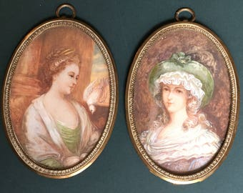 Beautiful Pair of Antique Watercolour Portraits