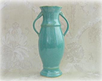 Second- Elegant Flower Vase in Speckled Aqua