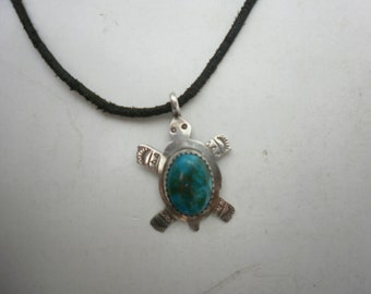 Vintage Rick Werito Sterling Silver Turquoise Turtle Pendant on leather Cord Navajo Turtle Pendant