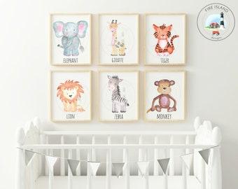 Set of 6 Safari Nursery Prints, Safari Animal Prints, Safari Animals, Baby Safari Nursery Set, Animal Nursery, Animal Print, Baby Wall Art