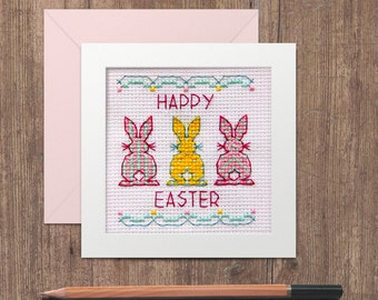 Easter Bunnies In A Row Card Cross Stitch Pattern - Instant Download PDF - Cute Modern Rabbit Greetings Card