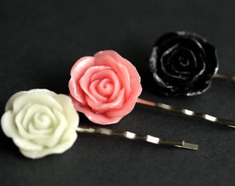 Rose Bobby Pins. Rose Hair Pins in Black Rose, Pink Rose, and White Rose. Handmade Hair Accessories.