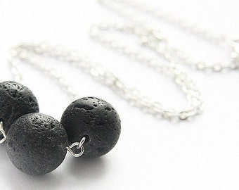 Raw Stone Necklace Santorini Black Lava Raw Stone Full Moon Necklace Sterling Silver/Gold Essential Oil Diffuser Necklace Modern Minimal