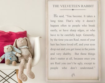 The Velveteen Rabbit - Wood Signs - Wooden Signs - Book Series - 24x36