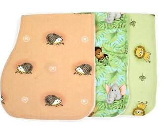 Burp Cloth Set-Gender Neutral-Lion Print-Hedgehog Print-Jungle Print-Organic Bamboo Terry Cloth/Cotton-Baby Shower Gift