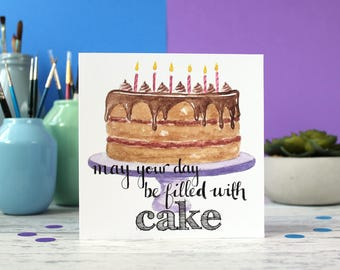 Birthday cake card, cute birthday card, greeting card, blank card