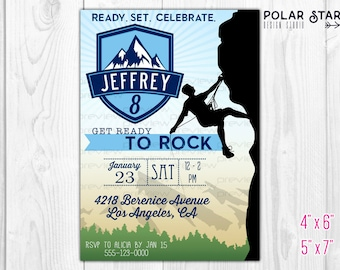 Rock Climbing - Personalized Boy Birthday Invitation - Cliffhanger, Extreme, Mountains, Badge, Outdoor - DIY Printable Digital File 102